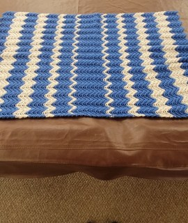 Crocheted Blanket Blue and Silver 270x320 - Crocheted Blanket (Blue & White) - 23 X 36