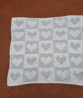 Crocheted Blanket Light Blue Hearts 270x320 - Crocheted Blanket with Hearts (Blue)
