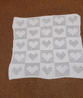 Crocheted Blanket Pink Hearts 270x320 - Crocheted Blanket With Hearts (Pink) - 25 x 28