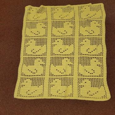 Crocheted Blanket Yellow Ducks 370x370 - Crocheted Blanket With Ducks (Yellow) - 33 1/2 x 37