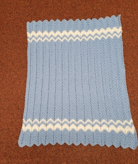 Crocheted Blanket Blue and White 270x320 - Crocheted Blanket - Blue and White