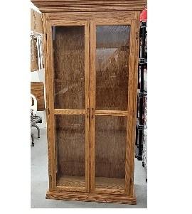 Oak Cabinet Double Door smaill 270x301 - 2 Door Oak Cabinet with Glass Shelves and Lighting - 1 ticket